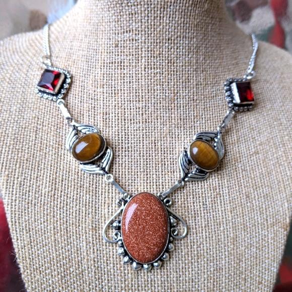 Sterling Gemstone Sitara Goldstone Necklace